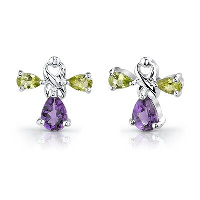 Oravo 4.00 cts Pear Shape Amethyst Peridot Pendant Earrings in Sterling Silver Free 18 inch Necklace