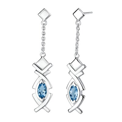 Oravo 2.75 carats Marquise Shape London Blue Topaz Pendant Earrings Set in Sterling Silver