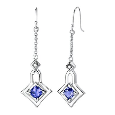 "Oravo "" Princess Cut Sapphire Pendant Earrings Set in Sterling Silver"