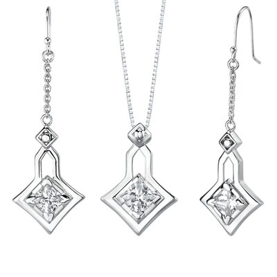 "Oravo 0.75"" Princess Cut White Cubic Zirconia Pendant Earrings Set in Sterling Silver"