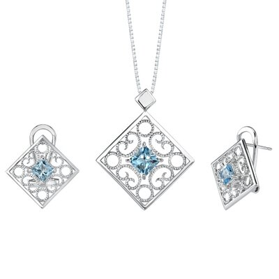 3.50 carats Princess Cut Swiss blue Topaz Pendant Earrings Set in Sterling Silver
