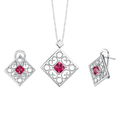 Princess Cut Ruby Pendant Earrings Set in Sterling Silver