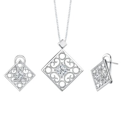 Princess Cut White Cubic Zirconia Pendant Earrings Set in Sterling Silver