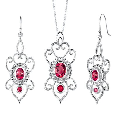 Oval and Round Shape Ruby Pendant Earrings Set in Sterling Silver