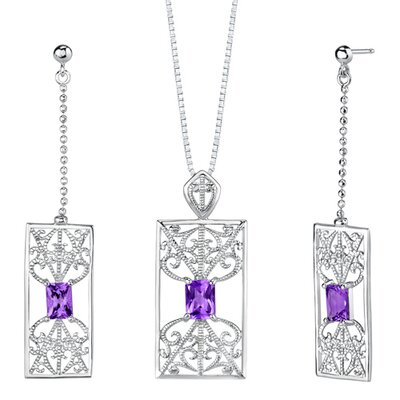 "Oravo 2.5"" Radiant Cut Gemstone Pendant Earrings Set in Sterling Silver"