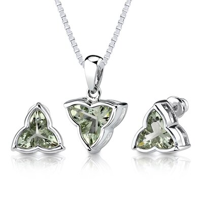Ultimate Excellence 6.75 carat Tri Flower Cut Green Amethyst Pendant Earring Set in Sterling ...