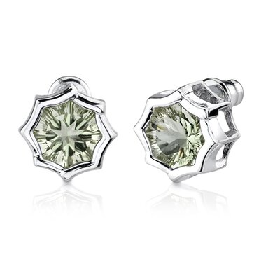 Oravo Exclusive Splendor 10.00 Carats Concave-Cut Snowflake Shape Green Amethyst Pendant Earring Set in Sterling Silver