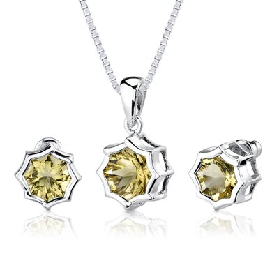 Oravo Exclusive Splendor Carats Concave-Cut Snowflake Shape Lemon Quartz Pendant Earring Set in Sterling Silver