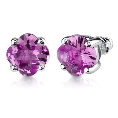 Oravo Classic Enchantment 10.25 Carats Checkerboard Lily Cut Pink Sapphire Pendant Earring Set in Sterling Silver
