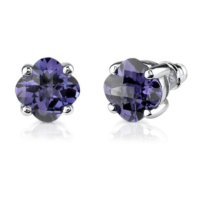 Oravo Classic Perfection 8.25 Carats Checkerboard Lily Cut Alexandrite Pendant Earring Set in Sterling Silver