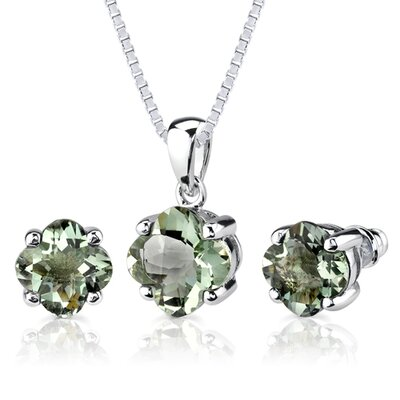 Classic Excellence 6.50 Carats Checkerboard Lily Cut Green Amethyst Pendant Earring Set in ...