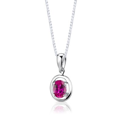 "Oravo Sterling Silver 1.75 Carats Oval Shape Ruby Pendant Earrings and 18"" Necklace Set"