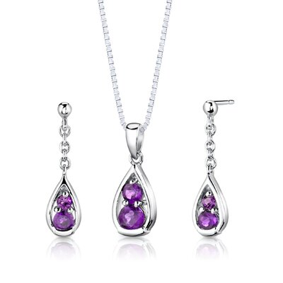 "Oravo Sterling Silver 1.50 Carat Round Shape Gemstone Pendant Earrings and 18"" Necklace Set"