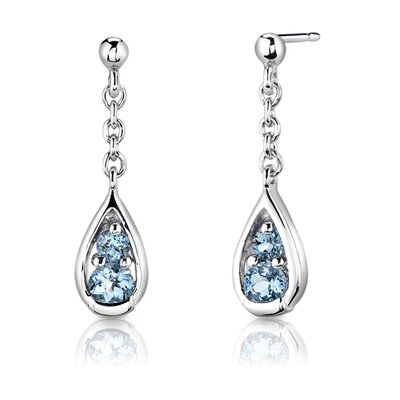 "Oravo Sterling Silver 2.00 Carats Round Shape Swiss Blue Topaz Pendant Earrings and 18"" Necklace Set"