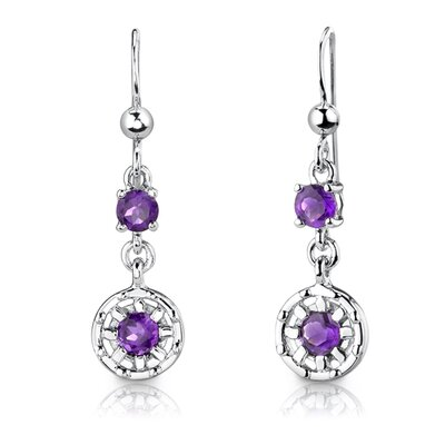 "Oravo Sterling Silver 2.00 Carats Round Shape Gemstone Pendant Earrings and 18"" Necklace Set"