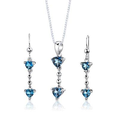 "Oravo Sterling Silver 1.25"" Heart Shape London Blue Topaz Pendant Earrings and 18"" Necklace Set"