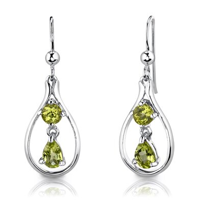 "Oravo Sterling Silver 2.50 Carats Multishape Peridot Pendant Earrings and 18"" Necklace Set"