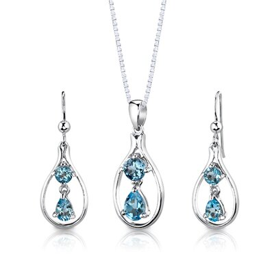 "Oravo Sterling Silver 3.00 Carats Multishape Swiss Blue Topaz Pendant Earrings and 18"" Necklace Set"