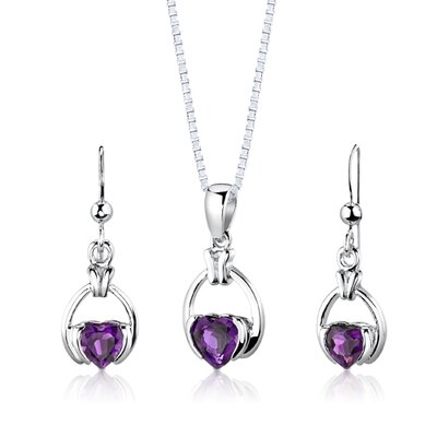 Sterling Silver 1.75 Carats Heart Shape Amethyst Pendant Earrings and 18