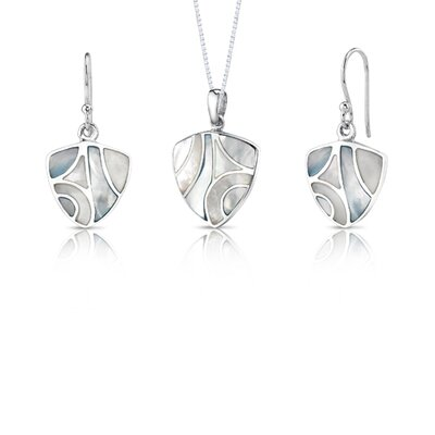 Serene Dawn Sterling Silver with Mother of Pearl Pendant and Earrings Bridal Set