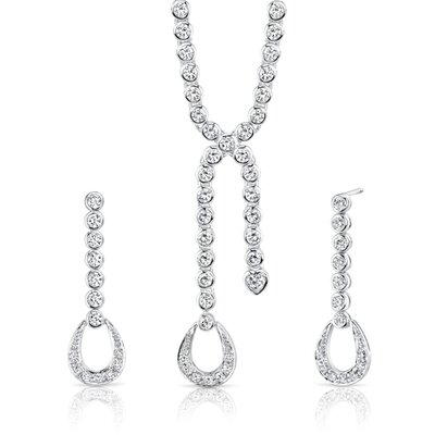 Dazzling Chic Sterling Silver Lariat Tennis Necklace Earrings Set with White Cubic Zirconia