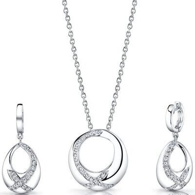 Radiant Simplicity Sterling Silver Pendant Necklace Earrings Set with Cubic Zirconia