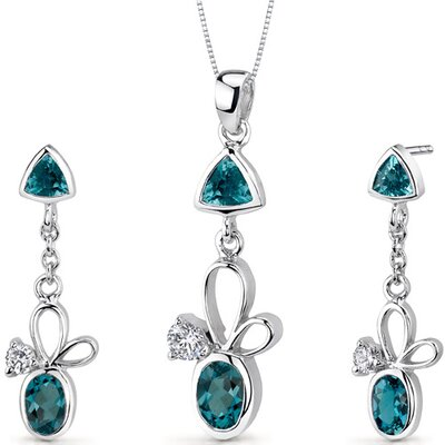 Dynamic 3.25 Carats Trillion and Oval Cut Sterling Silver London Blue Topaz Pendant Earrings ...