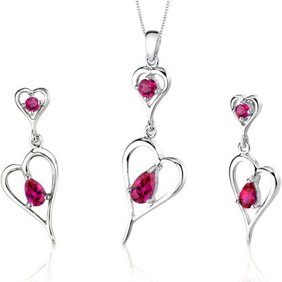 Heart Design 2.5 Carats Pear Shape Sterling Silver Ruby Pendant Earrings Set