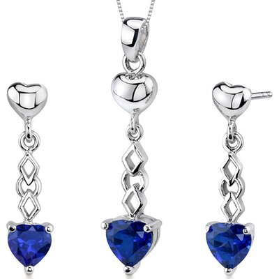 Oravo Cupid Duet 3.5 Carats Heart Shape Sterling Silver Sapphire Pendant Earrings Set