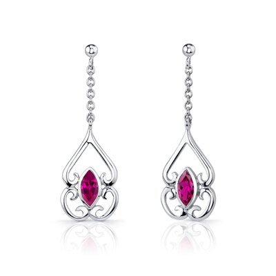 Oravo Ornate Style 2.75 Carats Marquise Cut Sterling Silver Ruby Pendant Earrings Set