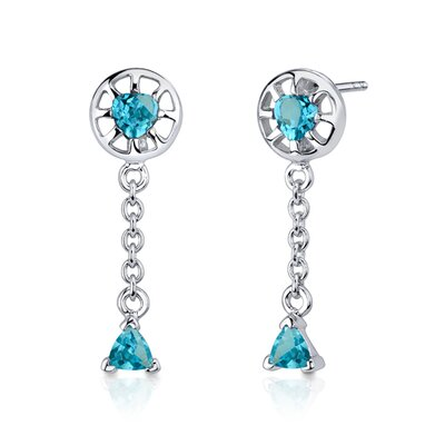 Oravo Dainty 2.00 Carats Trillion Heart Shape Sterling Silver Swiss Blue Topaz Pendant Earrings Set
