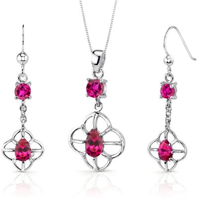 Dream Catcher Design 3.25 Carats Round Pear Shape Sterling Silver Ruby Pendant Earrings Set