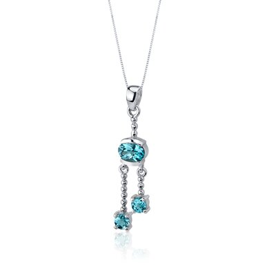 Oravo Charming 3.25 Carats Round Oval Shape Sterling Silver Swiss Blue Topaz Pendant Earrings Set