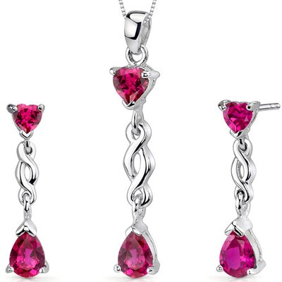 Enchanting 3.75 Carats Pear Heart Shape Sterling Silver Ruby Pendant Earrings Set