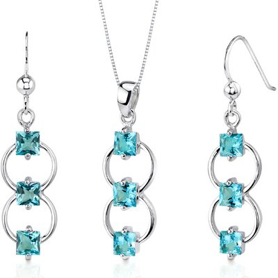 3 Stone 3.75 Carats Princess Cut Sterling Silver Swiss Blue Topaz Pendant Earrings Set