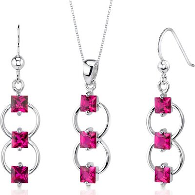 3 Stone 3.75 Carats Princess Cut Sterling Silver Ruby Pendant Earrings Set