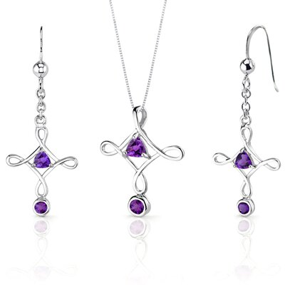 Cross Design 1.25 Carats Trillion Cut Sterling Silver Amethyst Pendant Earrings Set