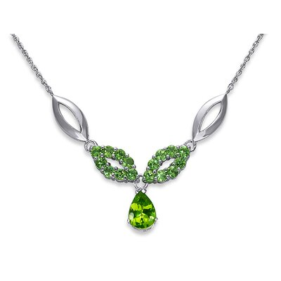 Oravo Gorgeous 4 Carats Pear and Round Shape Peridot Multi-Gemstone Pendant Necklace in Sterling Silver
