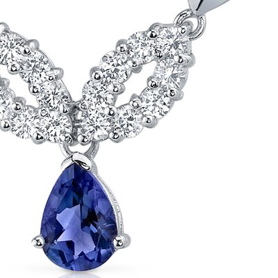 Oravo Gorgeous Pear Shape Created Sapphire and Round Shape White CZ Pendant Necklace in Sterling Silver
