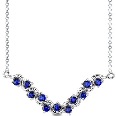Exceptional Round Shape Created Sapphire Gemstone Pendant Necklace in Sterling Silver