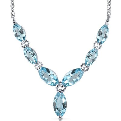 Oravo Marvellous 6.50 Carats Marquise Shape Swiss Blue Topaz Multi-Gemstone Pendant Necklace in Sterling Silver