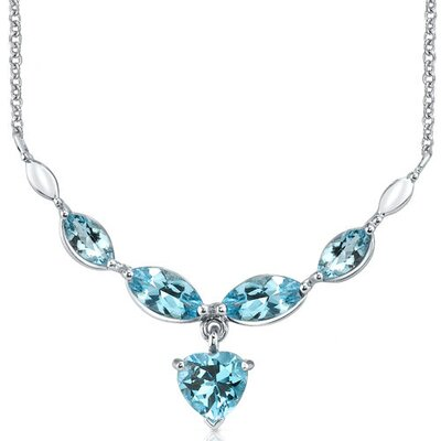 Oravo Elegant 6.25 Carats Heart and Marquise Shape Swiss Blue Topaz Multi-Gemstone Necklace in Sterling Silver