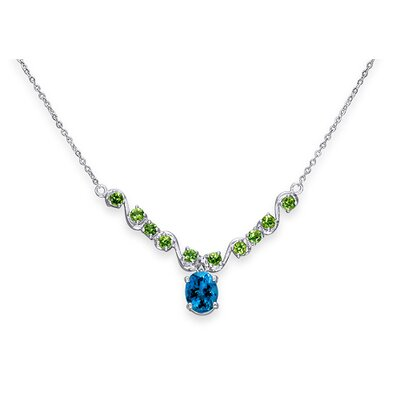 Oravo Trendy 3.5 Carats Oval and Round Shape Multi-Gemstone Necklace in Sterling Silver