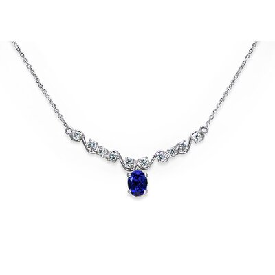 Oravo Trendy 3.50 Crats Oval Shape Created Sapphire and White CZ Pendant Necklace in Sterling Silver