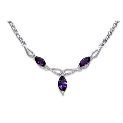 Attractive 3.50 carats Marquise Shape Amethyst Multi-Gemstone Necklace in Sterling Silver