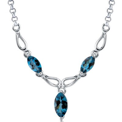 Attractive 4.25 carats Marquise Shape London Blue Topaz Multi-Gemstone Necklace in Sterling Silver