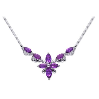 Full Body 4.00 carats Marquise Shape Amethyst Multi-Gemstone Necklace in Sterling Silver