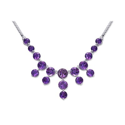 Luxurious 15.25 carats Round Shape Amethyst Multi-Gemstone Necklace in Sterling Silver