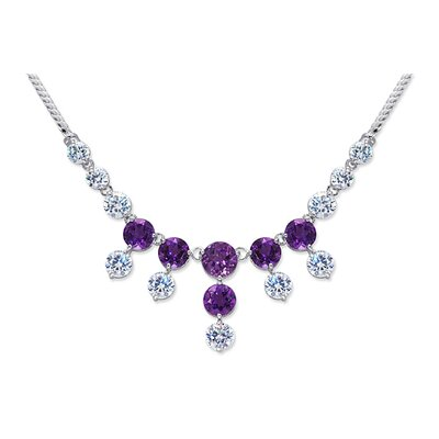 Luxurious 8.00 carats Round Shape Amethyst and White CZ Gemstone Necklace in Sterling Silver