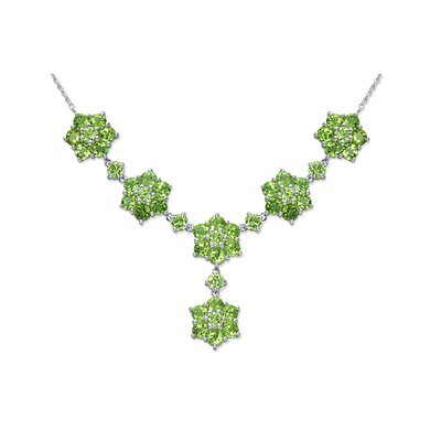 Flower Design 12.75 carats Round Shape Peridot Multi-Gemstone Necklace in Sterling Silver